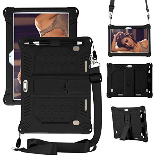 HminSen Case for Dragon Touch 10 inch K10 Tablet, Kids Friendly Soft Silicone Adjustable Stand Cover for Dragon Touch K10 / Notepad K10 / Max10 10.1 Tablet with Shoulder Strap (Black)