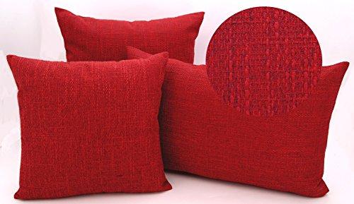 heimtexland edle Kissenhülle meliert mit Struktur in hochwertiger Bouclé Leinen-Optik mit Reißverschluß - in rot 40x40 cm - Kissen Typ314