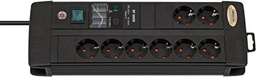 Brennenstuhl Premium-Line, Steckdosenleiste 8-fach mit Überspannungsschutz (3m Kabel, mit Schalter, inkl. auswechselbarer Sicherung, Made in Germany) schwarz