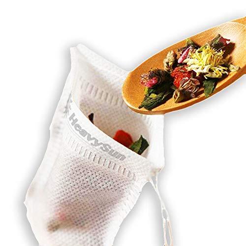 100x feine Teebeutel zum Selbstbefüllen mit verschließbarem Bändchen, leerer Teefilter Weiß, Filterbeutel wiederverwendbar mit Filtervlies Marke HeavySun