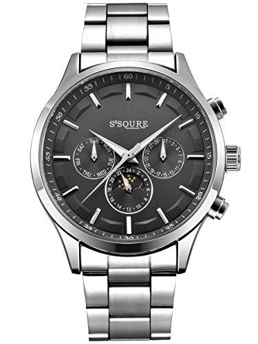 Alienwork Herren Damen mechanische Automatik-Uhr Silber mit Edelstahl Metallarmband Kalender schwarz