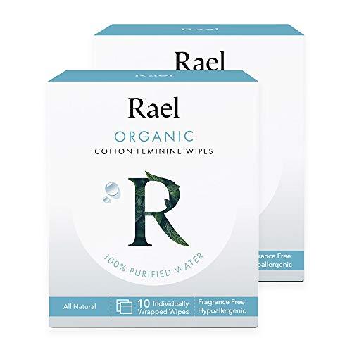 Rael Toallitas femeninas de algodón orgánico - 100{165bf6041fe61369fb5d74b01d4a967cb9d147d0fa0dbe5b2b0c496c46ec5fde} agua purificada, algodón orgánico certificado por OCS, biodegradable, ideal para pieles sensibles, envueltas individualmente, (total 20 conteos)