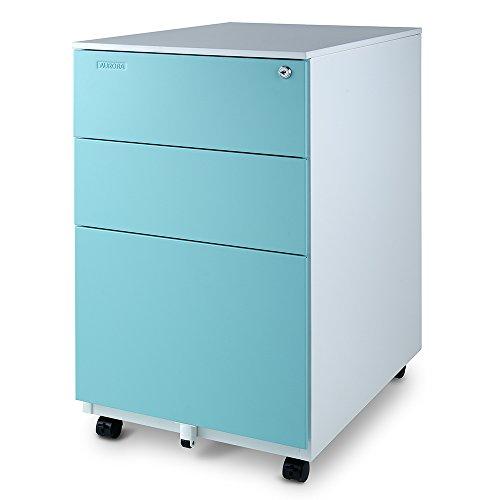 Aurora FC-103BL Fully Assembled Modern Soho Design 3-Drawer Metal Mobile File Cabinet with Lock Key, White/Aqua Blue