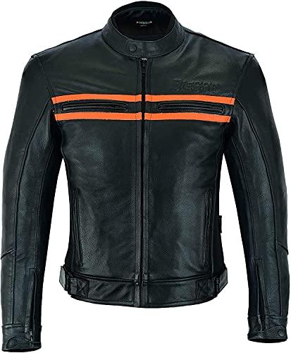 BI ESSE Giacca Moto Naked Custom Pelle Vintage Moto Harley Protezioni, Certificata (NERO / ARANCIONE, XS)