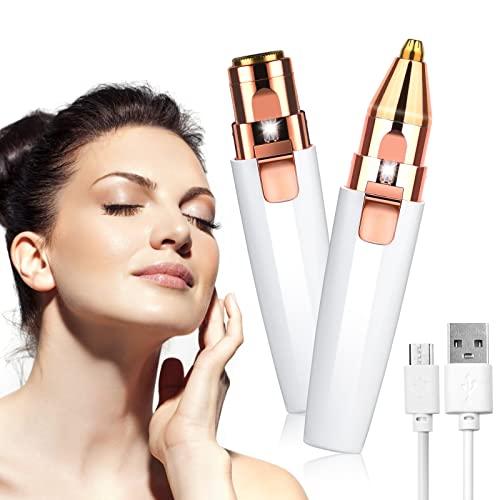URAQT Depiladora Facial Mujer, Eléctrica Depiladora Cejas Portátil, 2 en 1 Rasuradora Mujer USB Recargable con Cabezal de Repuesto y Luz LED, Afeitadora Sin Dolor para Cara Nariz Labio (Blanco)
