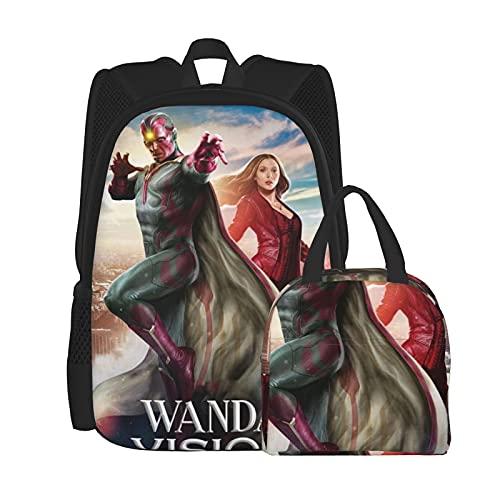 Wan_Da Poster Vi_Sion - Juego de mochila para ordenador portátil, mochila de hombro para estudiantes con bolsa de almuerzo (2 piezas), Negro, Talla única
