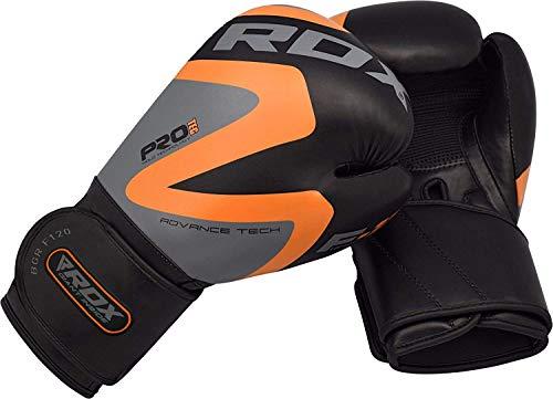 RDX Boxing Gloves Training Punching Bag Sparring Maya Hide Leather Muay Thai Mitts Kickboxing,Orange,16oz