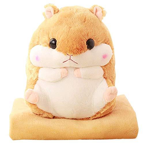 EisEyen Urisgo Baby Kinder Plüschtier Hamster Kissen mit Fleecedecke Blanket Kawaii Fluffy Hamster weichem Plüsch Spielzeug Puppe niedlich gefüllte Spielzeug