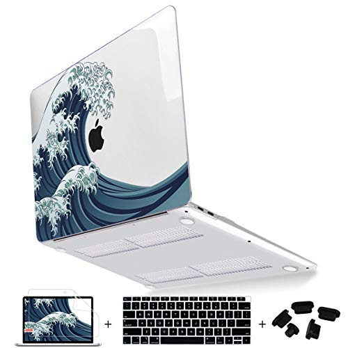 Mektron 13 inch MacBook Air Case 2020 2019 2018 Release A2179 A1932 with Retina Display Fits Touch ID, Soft Touch Clear Hard Shell Cover w/ Keyboard Skin & Screen Trackpad Protector, Sea Wave