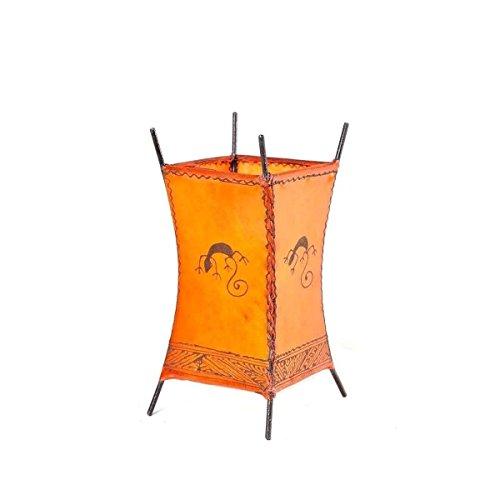 Orientalische Lampe Stehlampe marokkanische Hennalampe Lederlampe Tischleuchte Stehleuchte Orient Carree Gecko 30 cm Color Orange