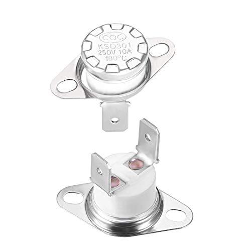 KSD301 - Termostato (180º, 10 A, normalmente cerrado, N.C, Ajuster Interruptor de control de limitación de disco Snap, termostato, microondas, interruptor térmico, 2 unidades)