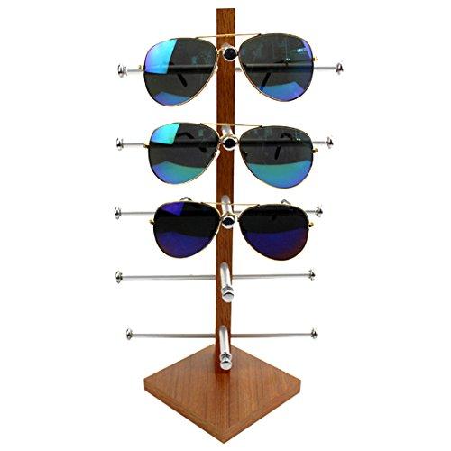 BANDRA Brillenständer Holz Brillenhalter für 5 Brillen 30×20×16CM Schwarz