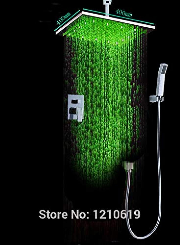 New US Free Shipping Gro-und Einzelhandel Zeitgenssische Edelstahl Chrom-Finish LED-Licht 16-Zoll-Dusche Wasserhahn Set