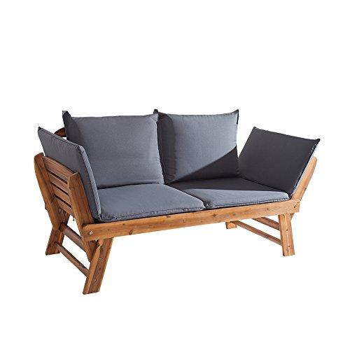 Invicta Interior Massive Sitzbank MODULAR aus Akazie geölt wetterfeste Gartenbank mit Kissen in grau und Polsterung klappbar Bank für Garten Terrasse oder Balkon Gartenliege mit Sitzauflagen