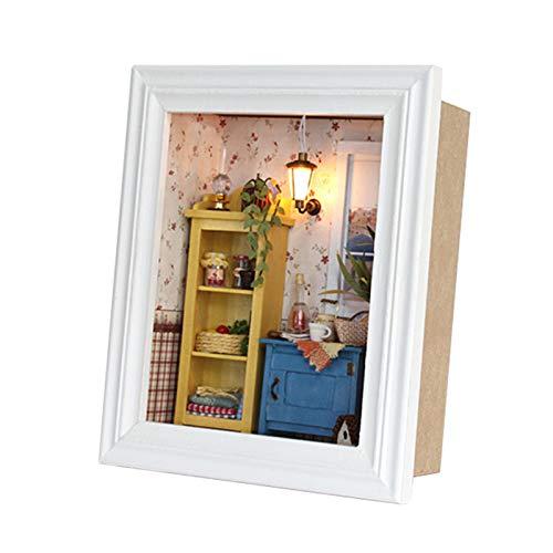 HERCHR Kit de casa de muñecas en Miniatura, casa de muñecas de Bricolaje en Forma de Marco de Imagen con luz LED, Regalos para niños, niñas y Mujeres, 16 x 19 x 7 cm
