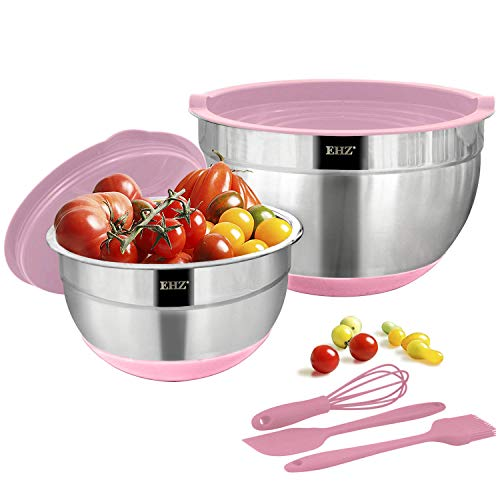 EHZ Mixing Bowls Stainless Steel Prep Bowl Set with Non-slip Silicone Base 1 / 4 QT Nesting Mixing Bowl with Lids Dishwasher Safe for Cooking, Baking & Food Storage - 7pcs (Pink)