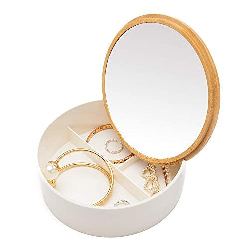 Espejo de tocador de Viaje, Caja de Almacenamiento de joyería Multifuncional de bambú y plástico, con Cubierta de Espejo de tocador, Adecuado para tocador, Mantel de encimera (Redondo)