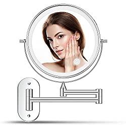 alvorog Wall Mounted Makeup Mirror Rechargeable with 3 Color 72 LEDs Touch Switch Intelligent Shutdown 1X/5X Magnifying Mirror Dimmable 360 Rotation Cosmetic Vanity Mirror for Bathroom Hotel 8 Inch
