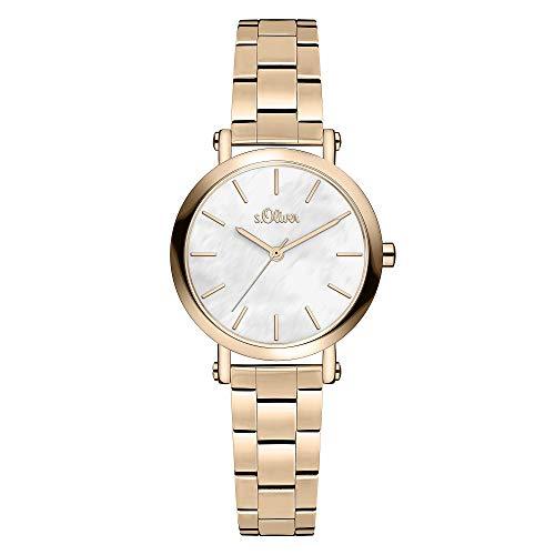 s.Oliver Damen Analog Quarz Uhr mit Edelstahl Armband SO-3812-MQ