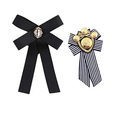 PPX Donne Bow Spilla Bowknot Cravatta Spille intarsiato Strass Papillon Fiore all' Occhiello per Festa di Nozze (2 Pezzi/nero rosso)