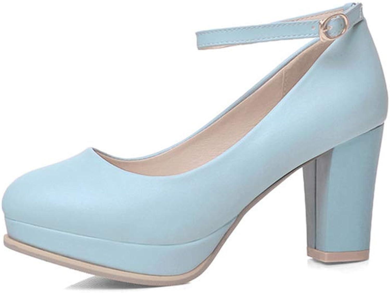 Women's Wide Width Heel Pump-Ankle Buckle Strap Heel Close Toe Platform