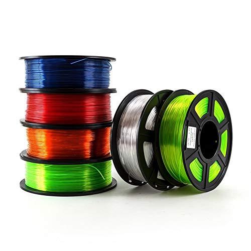 MXLTiandao 6pcs 3D Printer Filament PETG 1.75mm 1 kg / 2,2 LB en Plastique Filament Consommables PETG Matériel for imprimante 3D Scientifique Industrielle (Color : Transparent Orange, Size : Libre)