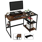 Nost & Host Rustic Computer Desk 47.2 Inches with Free Monitor Stand & Storage Shelves for Small Space Corner Modern Industrial Home Office Desk, Rustic Brown and Black