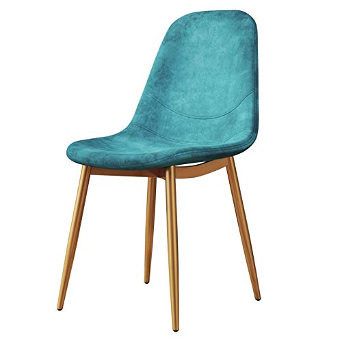 Tulip Chair 1pcs Modern Dining Room Chairs Back Support with Metal Legs Velvet Fabric Upholstered Seat Dining Office Lounge Chair (Color : Blue, Size : Golden Legs)