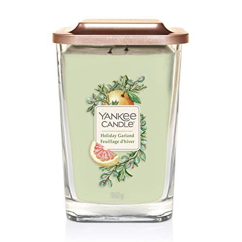 Yankee Candle Elevation Collection Large 2-Wick Square Scented Candle with Platform Lid, Holiday Garland