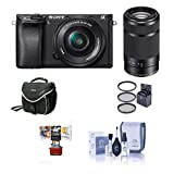 Sony Alpha A6000 Mirrorless Digital Camera with 16-50mm f/3.5-5.6 and 55-210mm f/4.5-6.3 OSS Lenses, Black - Bundle with Camera Bag, 49mm Filter Kit, Cleaning Kit, Mac Software Pack