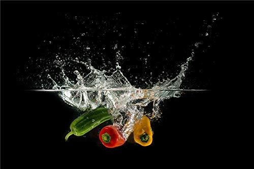 Legpuzzels Voor Volwassenen, 3D-Puzzel 35 Stukjes/Legpuzzels, Spaanse Peper Die In Water Valt, Rood, Groen, Geel, Zwart, Speelgoed Voor Binnen En Buiten, Vaderdag, Moederdagcadeau - Houten Fotolijst