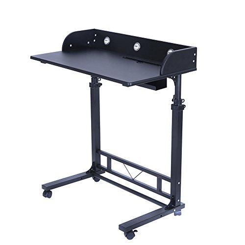 Poarmeey Height Adjustable Rolling Laptop Desk Table Computer Desk