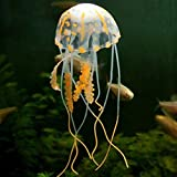 Acuario Artificial Luminoso Pez León Pecera Paisaje Acuático Silicona Medusa Pez Resplandor en la Oscuridad Adorno Submarino, Medusa naranja