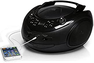 ONN CD/AM/FM Portable Boombox with Line-in Jack (Renewed)