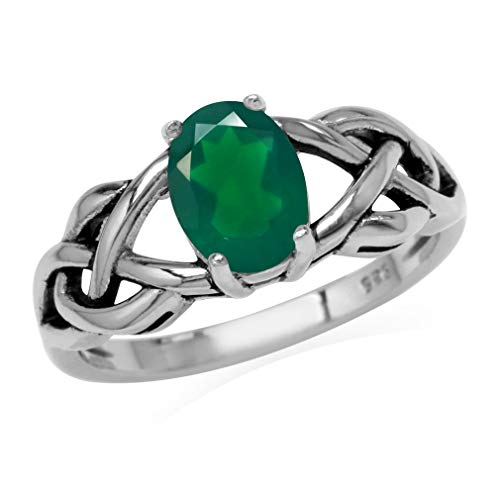 Silvershake 1.12ct. Natural Emerald Green Agate 925 Sterling Silver Celtic Knot Solitaire Ring Size 7