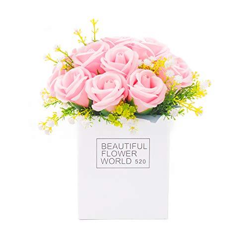 母の日 ソープフラワー 枯れない プレゼント ボークス 花 バラ 誕生日 香り 飾り 祝日 贈り物 お祝い お見舞い おしゃれ メッセージカード付き (ピンク)