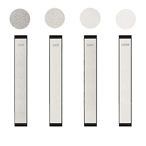 Cyleibe Schleifstein Set, Abziehstein, Wetzstein für Messer, Diamant Abziehstein mit Körnung 240# 400# 600# 1000 (4 Stück)