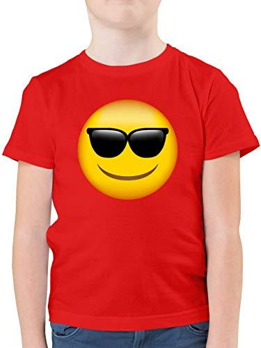 Anlässe Kinder - Emoticon Sonnenbrille - 152 (12/13 Jahre) - Rot - weißes t-Shirt Kinder - F130K - Kinder Tshirts und T-Shirt für Jungen