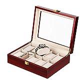 AYGANG Guarda Relojes Caja de Soporte de Reloj de Reloj de Madera Caja para Relojes Hombres de Cristal Top Jewelry Organizer Box 2 3 5 12 Grids Watch Organizer (Color : 10 Slots)