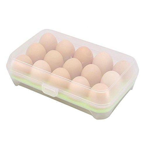 Swiduuk pratique réfrigérateur 15 œufs Boîte de rangement support pour nourriture hermétique à durable Coque Taille unique Green