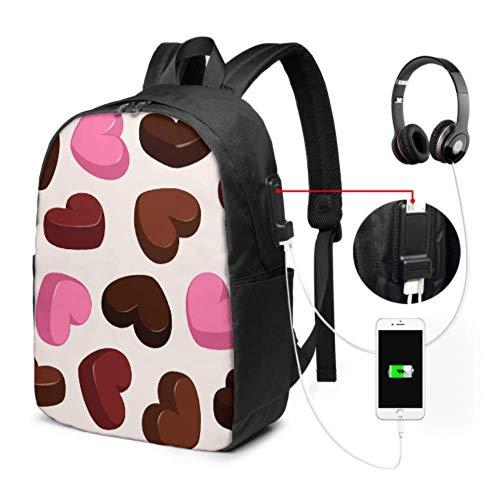 College-Tasche Praline Bitterkeit Leichter Tagesrucksack mit USB-Ladeanschluss und Kopfhöreranschluss für College-Arbeitsreisen