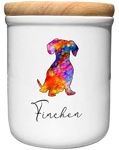 Cadouri Keramik Leckerli-Dose DACKEL » personalisiert mit Name deines Hundes «┊Snackdose Keksdose Aufbewahrungsdose┊mit Holzdeckel