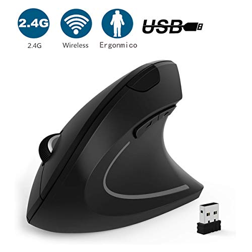 GeekerChip Mouse Wireless Verticale,Mouse Senza Fili 5 Pulsanti con Impugnatura Verticale e Design Ergonomico,Mouse Ergonomico con 3 Livelli DPI Regolabili 800/1200/1600 per PC/Laptop/MacBook(Nero)