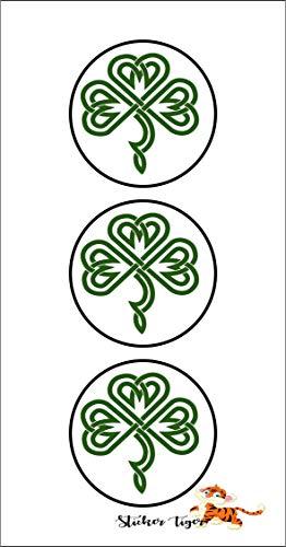 3 -Celtic Shamrock Green Vinyl Decal Sticker 2' Round
