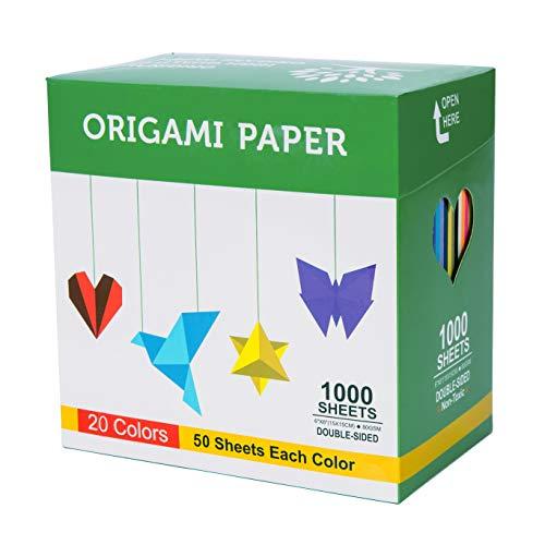 Origami Papel 1000hojas 6pulgadas cuadrado de doble cara Color 25colores vivos para principiantes recogidos y la escuela Craft lecciones