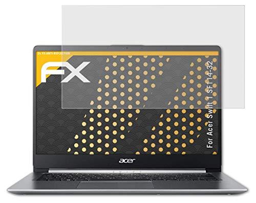 atFolix Panzerfolie kompatibel mit Acer Swift 1 SF114-32 Schutzfolie, entspiegelnde & stoßdämpfende FX Folie (2X)