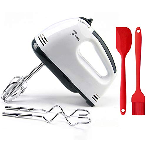 Hand Mixer,Leaflai Electric Whisk Egg Beater 7-Speeds Food Baking Mixers with 2 Beaters 2 Dough Hooks Mini Egg Cream Food Beater Making Cake for Kitchen