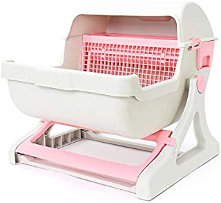 Extra Large Semi-Automatic Cat Toilet Self-Cleaning Litter Boxes (Pink)