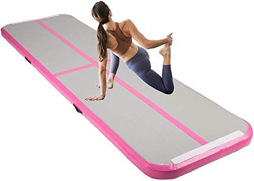 Z ZELUS Tappetino da Ginnastica Gonfiabile in PVC Air Track Pista Tumbling Materassino Aria Fitness per Yoga Taekwondo 300 x 100 x 10 cm (Rosa)