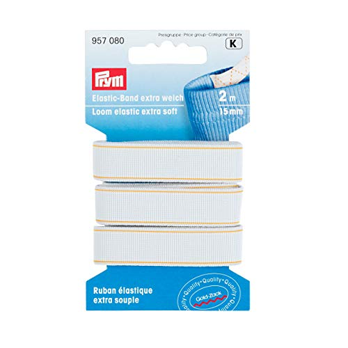 Prym, weiß 957080, Extra Loom Elastic,15 mm, 2 m, 66% PES 34% ED